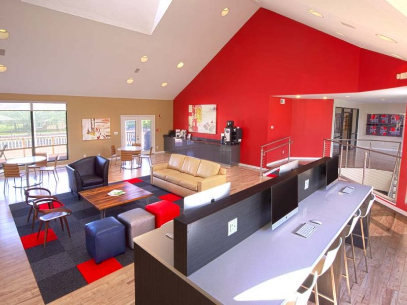This image shows the cafe lounge with complimentary refreshments and Wi-Fi.