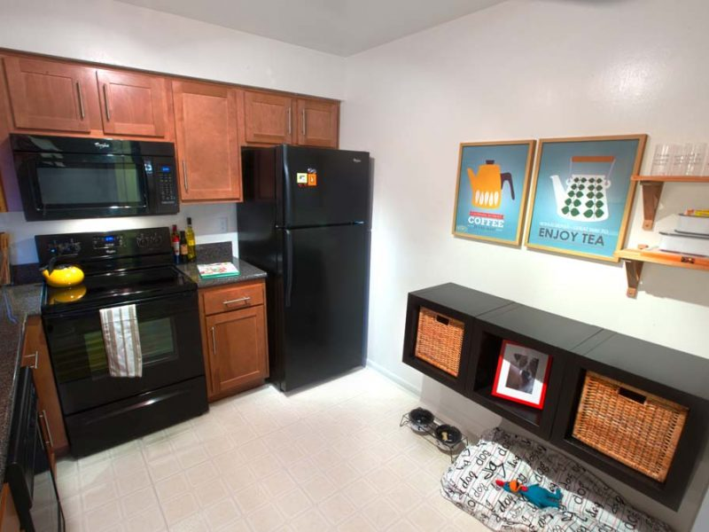 This image shows a fully equipped kitchen with Whirlpool appliances.
