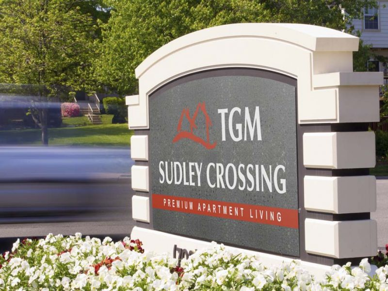 This image shows the monument of the TGM Sudley Crossing Apartments that ideal combination of location.