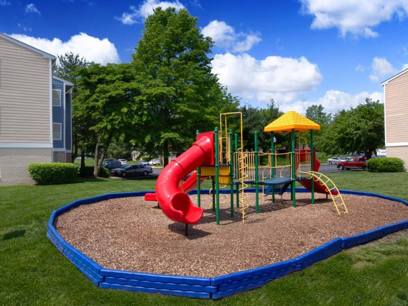 This image shows the playground area featuring the slides.