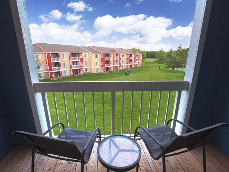 This image shows private patios or balconies that create a relaxing atmosphere.